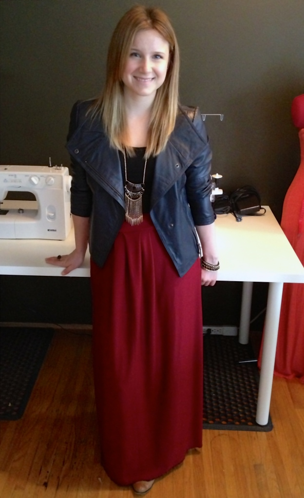 {My Outfit: RW&Co Leather Jacket, Banana Republic tank, Aldo necklace, Social Experiment ring, Skirt made by Moi!)