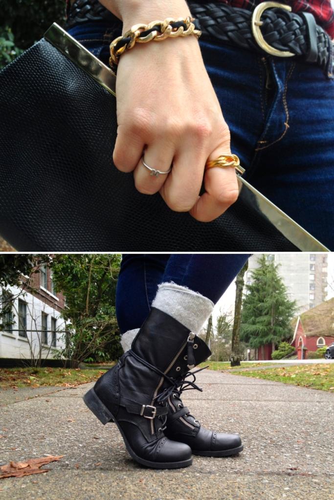 "Top:  Bracelet LOVE COCO   Gold Ring BCBG   Silver ""M"" Initial Ring LOFT 82   Clutch ALDO Bottom:  ALDO Boots"