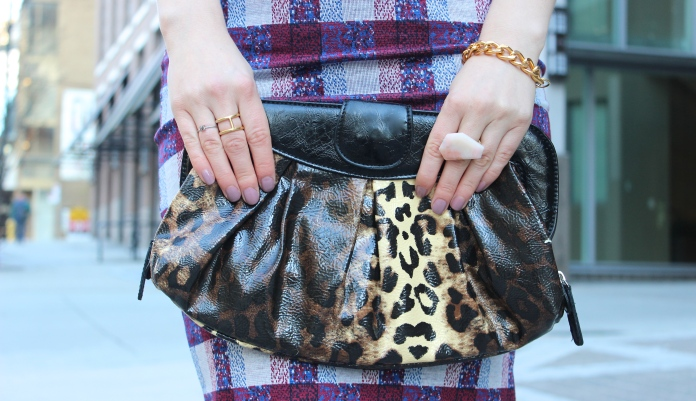 ALDO Clutch | TOPSHOP Skirt | NOUL Initial M Ring & Gold Ring |  SOCIAL EXPERIMENT Pink Gem | ESSIE #Ladylike Nail Colour
