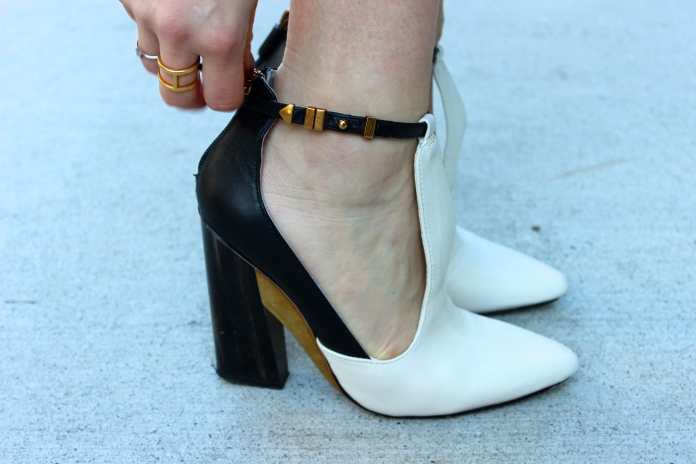 BCBG MAXAZRIA Shoes with my favourite monochrome palette.  White. Black. Gold.