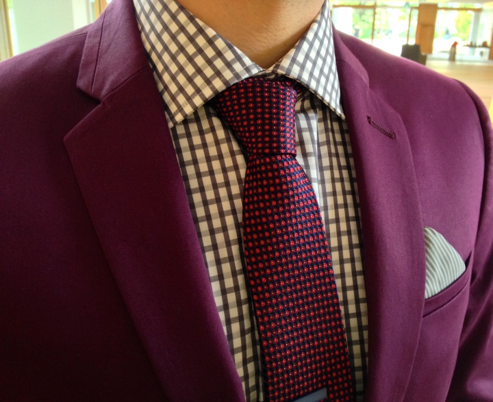 Detail shot | Mixing prints with Peter's suit.