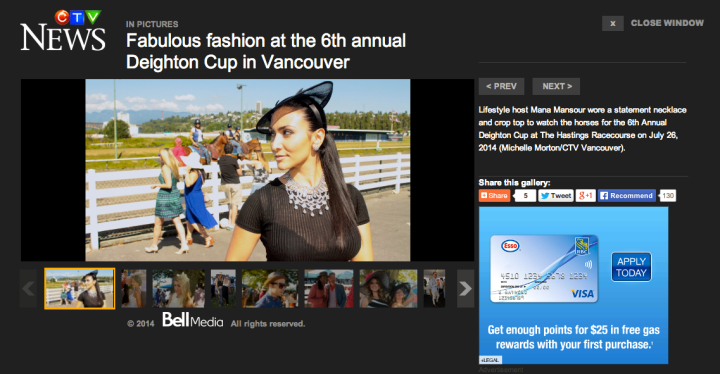 Fashion coverage of The Deighton Cup on CTV Vancouver