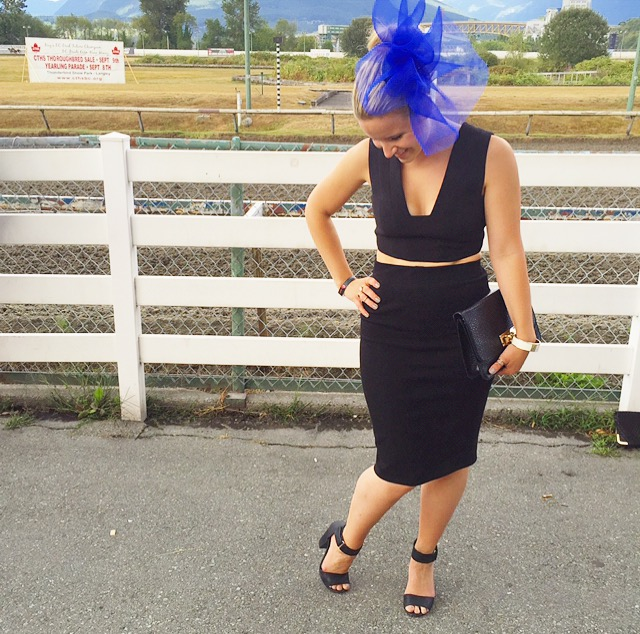 My Deighton Cup ensemble! FASCINATOR Entitled Hats & Fascinators | TOP BCBG | SKIRT Wilfred | SHOES H&M
